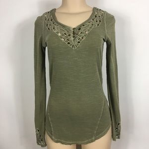 Free People XS Long Sleeve Crochet Olive Green Top